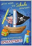 Glückwunschkarte zum Schulanfang mit Pirat Jungen Karte Einschulung